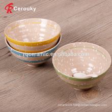 Promotional cheap special design ceramic stoneware footed bowl