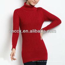 13STC5328 slim-fit senhoras gola de lã suéter mulheres túnica