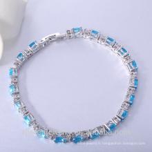 Vente chaude Bijoux Cz Bracelet Ovale Bleu Bracelet Logo Personnalisé