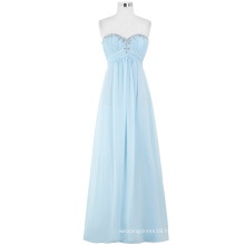Starzz Ladies Full-Length Strapless Chiffon Long Light Blue Evening Dress 2016 ST000002-3
