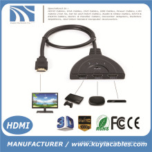 3 puertos de cerdo Tail HDMI 1080p Switch Splitter Switcher HUB Box Cable para TV HDTV DVD PS3 Xbox 360 Caja de cable