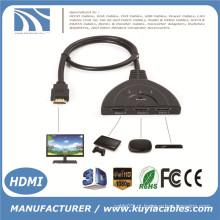 3 Port Porco Tail HDMI 1080p Switch Splitter Switcher HUB Caixa de cabo para TV HDTV DVD PS3 Xbox 360 Caixa de cabo