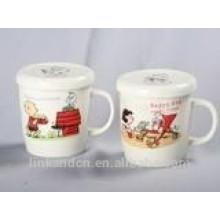 Tasse en céramique personnalisée Haonai avec couvercle et poignée en gros