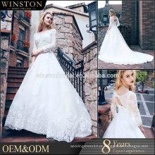 Vestido de noiva muçulmano de Dubai 3/4 mangas compridas Padrões de vestido de casamento de renda 2016