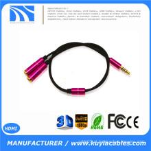 3.5mm 1 a 2 Adaptador duplo do cabo do divisor de Jack Y do fone de ouvido do fone de ouvido QUENTE !!