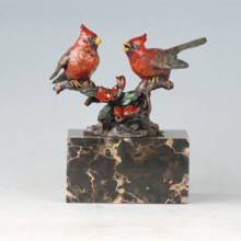 Animal Bird Brass Statue Red Birdle Lovers Bronze Sculpture Tpal-305