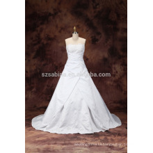 2017 white satin beads sequines sweep train ball gown wedding dress with real pictures