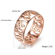 Beautiful Hollow Out Camellia Ring 18K Rose Gold Plated Women Ring Fashion Jewelry Wholesale Titanium Metal Finger Ring Band