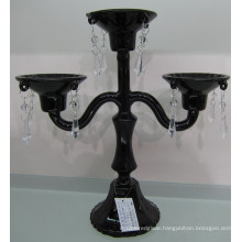 Painting Black Glass Candle Holder with Three Poster for Home Decoration