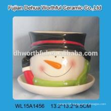 Fantastic ceramic christmas snowman flower pot