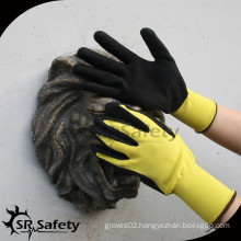 SRSAFETY 13G yellow coated black foam latex safety glove coated latex