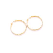 E-587 xuping fashion  Rhinestone 24K gold color simple design Women's Hoop Earrings