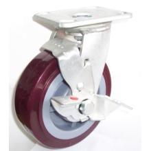 Industrail Roulette pivotante en PU avec frein latéral (rouge)