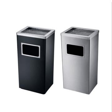 Acero inoxidable hotel / oficina uso cubo de basura con cenicero (yw0036)