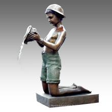 Grande Statue Conque Garçon Fontaine Bronze Sculpture Tpls-023