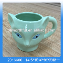 Taza verde del zorro de la dolomía, venta al por mayor de la taza del zorro de cerámica