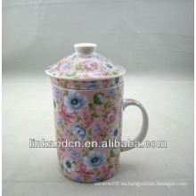 Haonai antigua taza de té de cerámica china con filtro y tapa