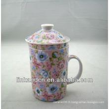 Tasse à thé en céramique ancienne chinoise Haonai avec filtre et couvercle