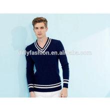 Europäische schule mode navy herren pullover kabel stricken v-ausschnitt pullover pullover