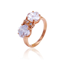 Xuping New Style Fashion Rose Gold Colour Ring with White CZ Stone