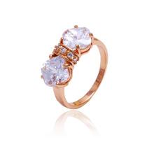 Xuping nova moda estilo rosa anel de cor de ouro com pedra branca cz