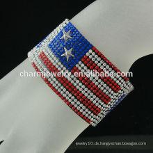 European American Flag Samt Wide Leder Armband mit Magnetverschluss Buckle Crystal Heißer Verkauf BCR-016-2