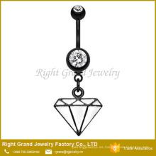 Acero quirúrgico negro plateado titanio cuelgan anillo de vientre de diamante blanco esmalte