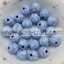 Light Blue Nice Plastic Crack Beads For Jewelry Making Ball Acrylic Beads
