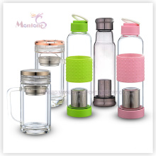 550ml Borosilicate Glass Tumbler with Lid and Tea Holder (013)