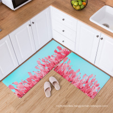 Custom kitchen carpet 2 Pieces Microfiber Moroccan Trellis Non-Slip Soft Kitchen Mat carpet rug
