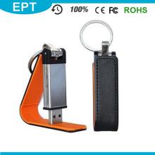 Novo disco de couro do USB do logotipo de Emboss com corrente chave (EL016)