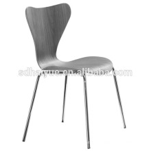 Современный внешний вид фанеры кухонный стул гнутой древесины стул с хромированной металлической рамой