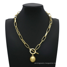 Gold Ball Pendant Choker Necklace for Women Wedding Punk Big Bead Long  Chain Necklaces Statement Jewelry