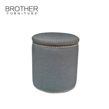 Hot sale modern kids pouf fabric storage ottoman for bathroom
