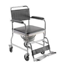 Steel folding commode wheelchair on wheels W003