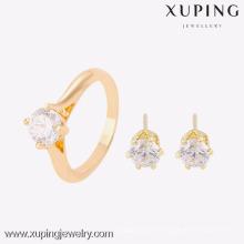 63753- Xuping Elegante 18k pendiente y anillo de 2 piezas de joyería conjunto mujeres