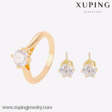 63753- Xuping elegante 18k brinco e anel de 2 peças conjunto de jóias mulheres