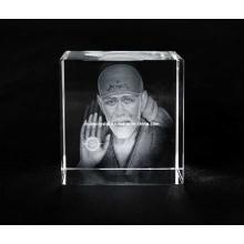 Sai Baba Photo in Crystal Cube for Hindu Souvenir Gift