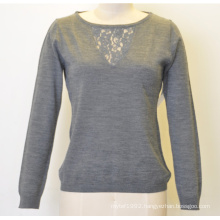 Women Pure Color Round Neck Lace Pullover Knit Sweater