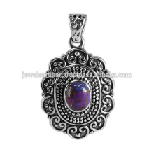 Traditional Design Purple Copper Turquoise 925 Solid Silver Oxidized Pendant