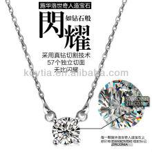 Corazones y flechas lindos zircon diamante 925 collar de cadena de plata