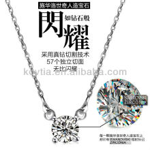 Hearts and arrows cute zircon diamond 925 silver chain necklace