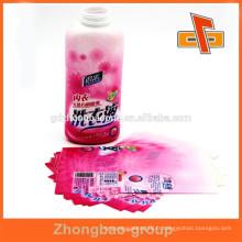 Étiquette de bouteille encreur rétractable pvc imprimée colorée pour détergent liquide