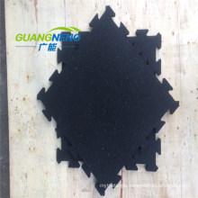 Black Color SBR Rubber Tile with Interlock, Size 500X500X15mm