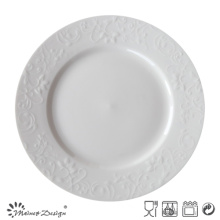 Round Embossed Ceramic Porcelain Plate