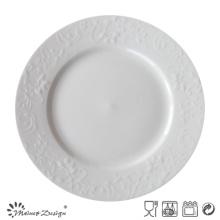 Plaque ronde en porcelaine gaufrée en céramique