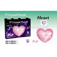Rompecabezas del cristal 3D de la forma del corazón de DIY con la luz 43PCS para los cabritos