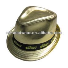 Oro PU partido sombrero con cinta de impresión