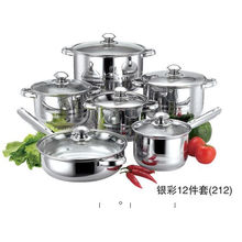 12PCS Stainless Steel Microwave Cookware Set With Stainless Steel Handle