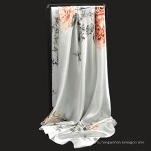 Новое Прибытие Цветочный узор 90*90 см квадратные женские платки напечатаны полиэстер шарф
